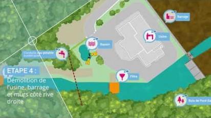 Animation 2D des étapes du chantier de démolition du barrage de Pont-Sal