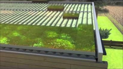 Animation 3D de la la solution Verdura pour végétaliser les toitures en pentes